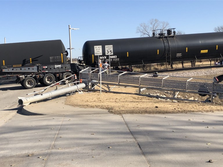 LIVE VIDEO: See the train that slammed into the trailer in Kiefer (Warning: strong language)