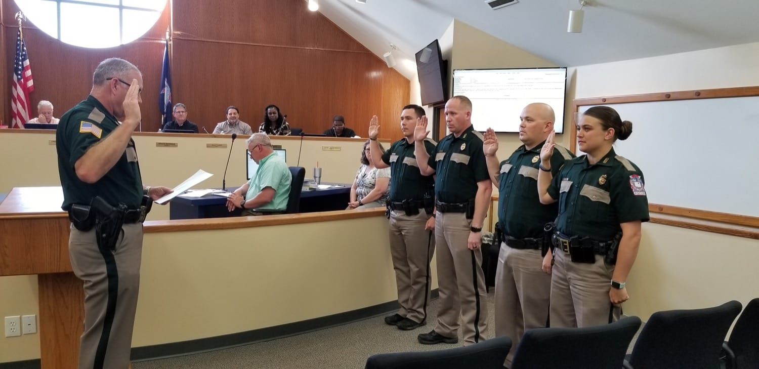 Police Chief Mike Haefner administered the Oath of Office to Officer Jacob Byram, Officer Dennis Hall, Officer Cansas Pate, and Officer Elisa Mudd.