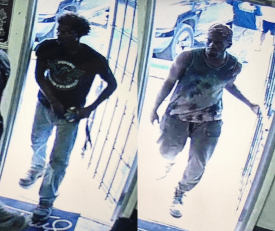 Deputies released these surveillance footage photos depicting cousins Wendell and Steven Washington and Steve Washington, whom are being charged with shooting at a car with intent to kill on July 29 in Turley. Courtesy