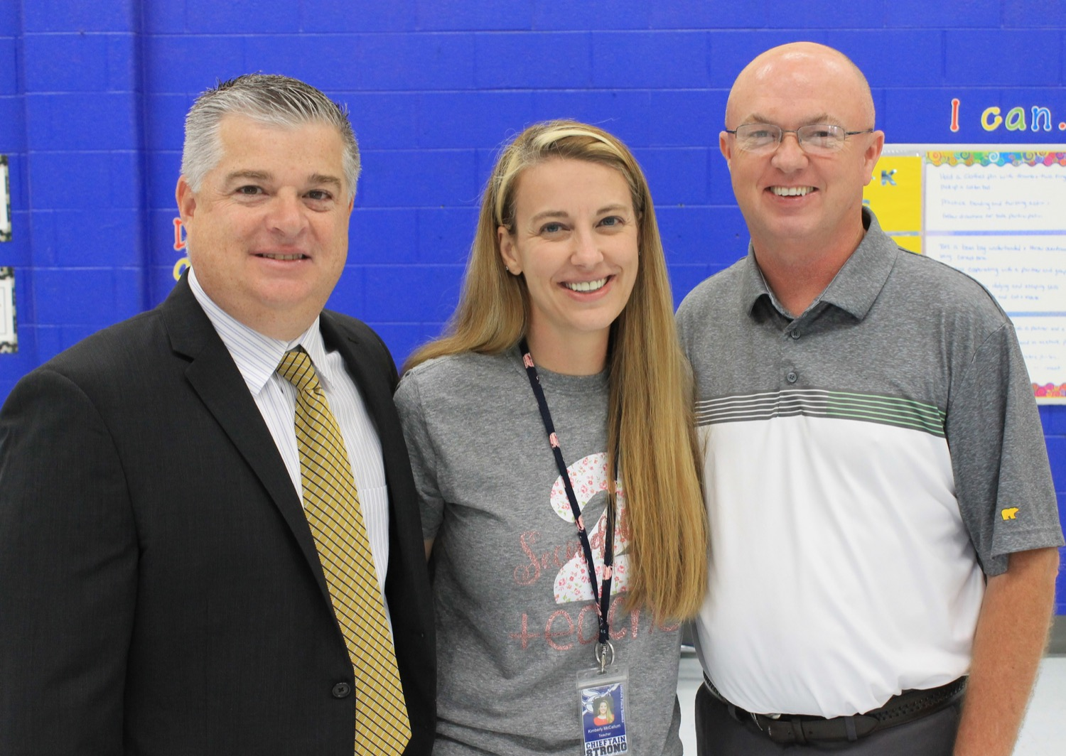 Left to right: Superintendent Robert Armstrong, Liberty STEM's McCallum, and Liberty STEM's Principal Walsh.