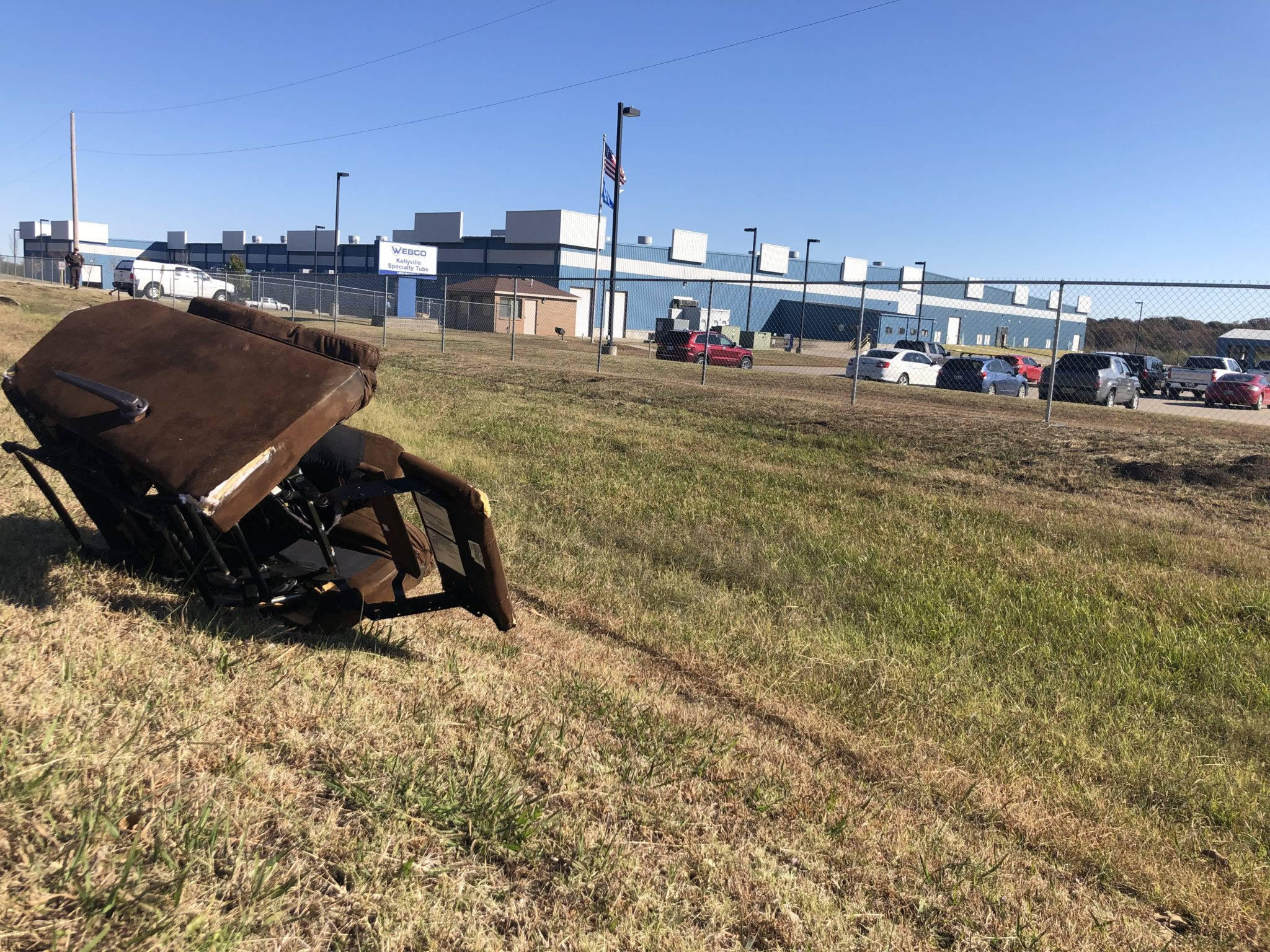 This recliner is all that remains from a fatal accident on Friday evening where a woman was struck trying to remove it from the road.