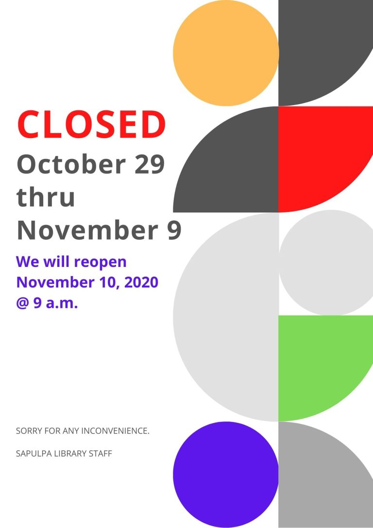 Sapulpa Library abruptly closes and cancels all events until November 9th