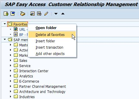 maintain sap favorites in