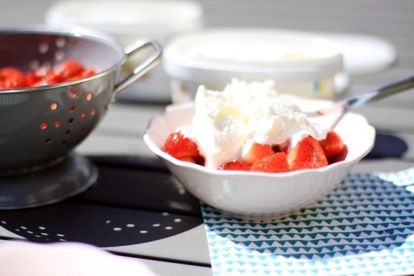 glass och jordgubbar
