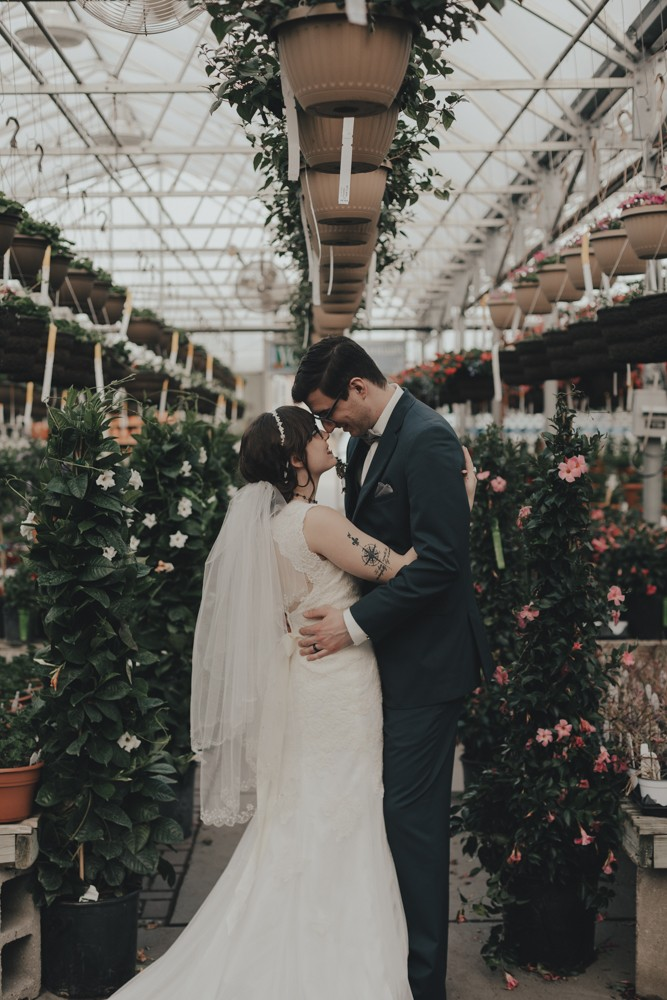 Ecclectic, intimate wedding with jewel tone bouquets and greenhouse love in Rockford, Illinois by Sara Anne Johnson