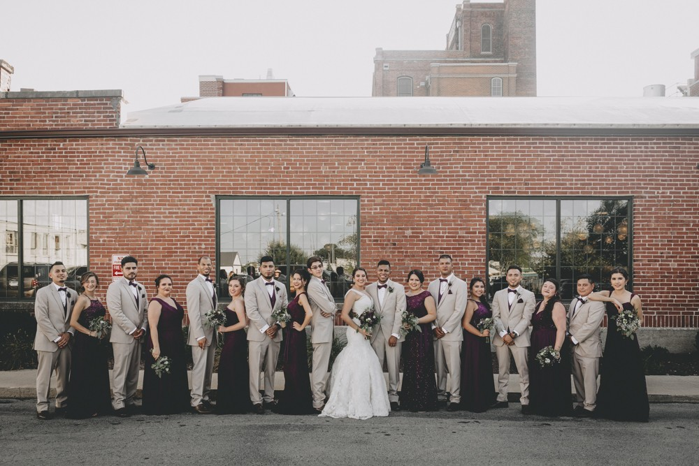 Purple + Gold Prairie Street Brewhouse September wedding with dockside ceremony photography by Sara Anne Johnson