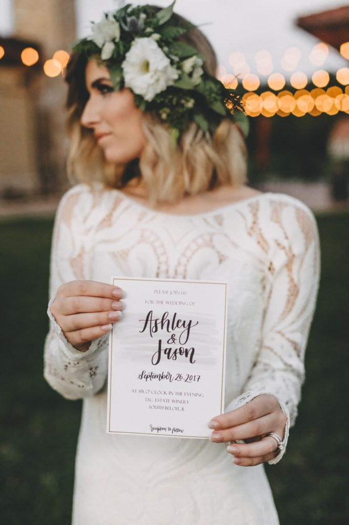 "Mid-Mod Meets Boho with Lovely Bride at romantic D.C. Estate Winery in South Beloit, Illinois by Sara Anne Johnson   Photo: Sara Johnson Photography Venue: DC Estate Winery Cake: Julie Michelle Cakes Rentals: Forever Birdy Calligraphy: Letters by Chels Dress: Lovely Bride Chicago - Lovers Society ""North"" Florals: Busy B's  Event Planner: Capstone Occasions"