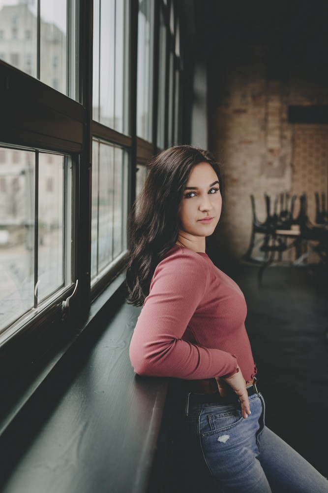 Modern boho luxe inspired high school senior portrait session in downtown Rockford, IL