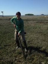 Collecting sediment cores at Jarvis Creek, Brandord, CT.