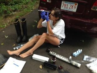 Analyzing porewater samples at Jarvis Creek, Branford, CT