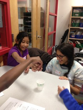 The Five Senses activity at the Girls Science Club.