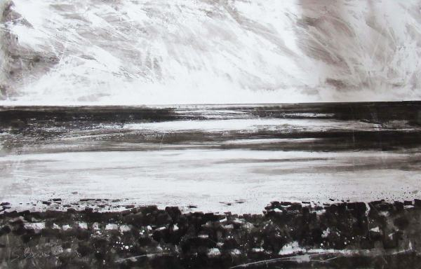Mount's Bay, Evening Sun - Ink on Synthetic Paper