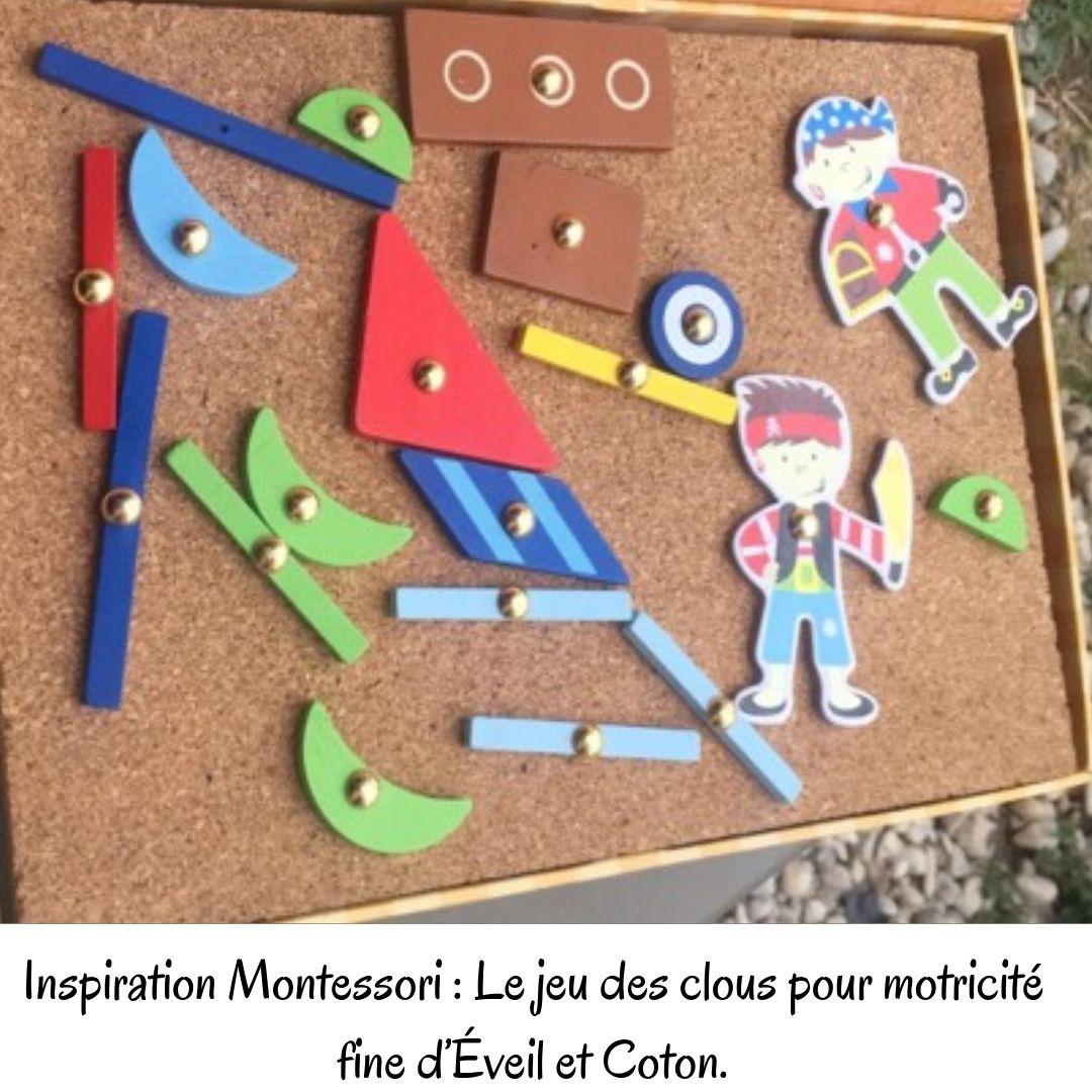 Inspiration Montessori: Le jeu des clous pour motricité fine d'Éveil et Coton.