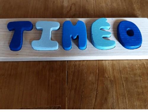 L'Atelier Ebenix, pour des puzzles prénom en bois.