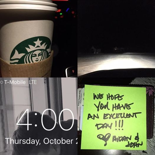 Early call times aren't so bad when you 1)are the first to arrive 2) you have Starbucks and 3) most importantly, when you get love from your boys. #setlife #cold #mrscrosby #myboys