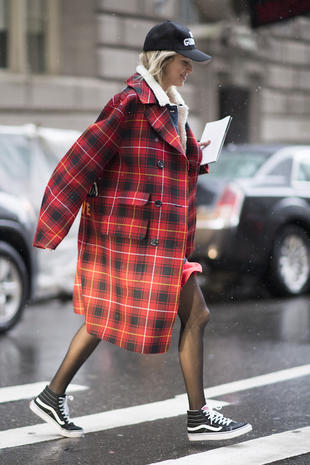 NEW YORK, NY - FEBRUARY 12: Helena Bordon is seen wearing a red coat from Gucci seen in the streets of Manhattan after the Victoria Beckham show during the New York Fashion Week February 2017 on February 12, 2017 in New York City. (Photo by Timur Emek/Getty Images)