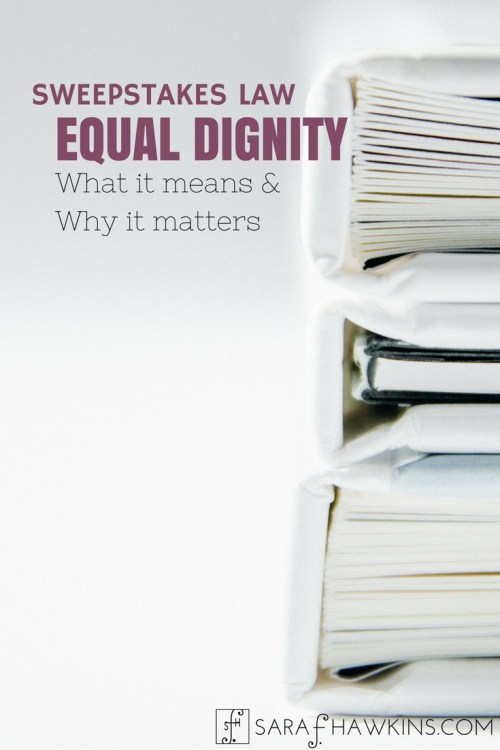 SWEEPSTAKES LAW Equal Dignity - Pin