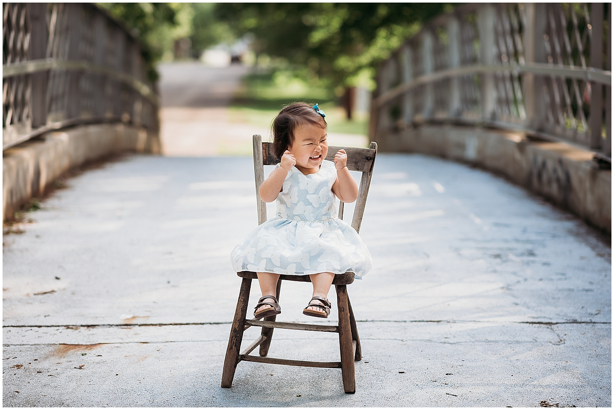 Little girl excited for pictures