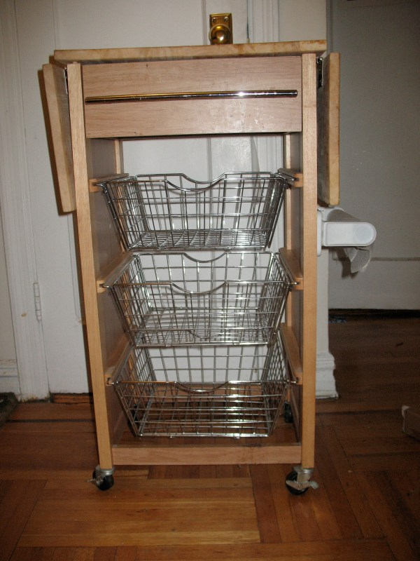 Cutting Board Table With Wire Basket-drawers Sarah And