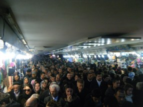 Rush hour traffic in the subway at Galata