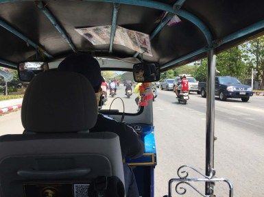 Taxi ride from Chiang Mai airport to the bus station to leave for Lampang. Much more fun than the sedans we'd been in so far!