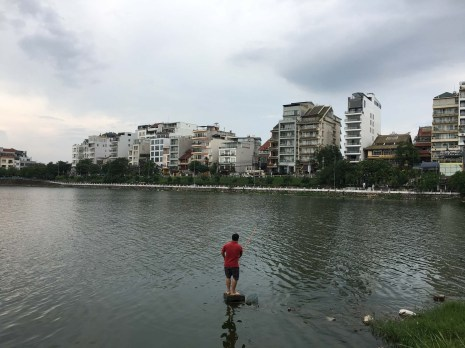 Fishing in West Lake, the largest lake in Hanoi and around which we've learned most of the expats choose to stay. There are many neat stores and cafes.