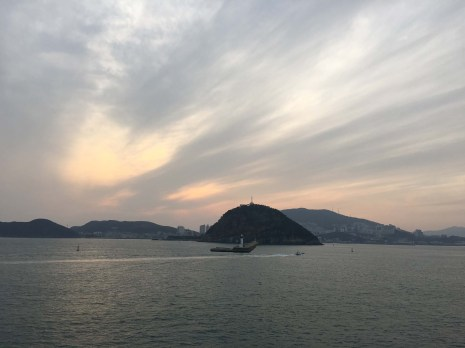 Arriving in Busan as the sun sets.