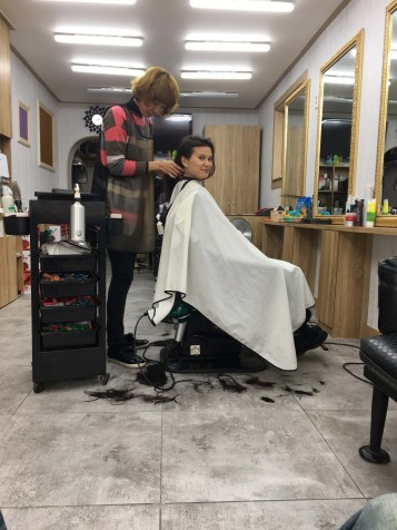 We risked it and got some haircuts. The price was under $10USD so we couldn't complain! I love looking like a K-pop star anyways.