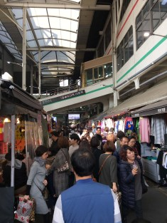 Busy market near downtown Daegu.