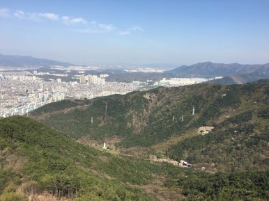 View of Daegu from Apsan Park, looking east. The tram is visible in the hills below.