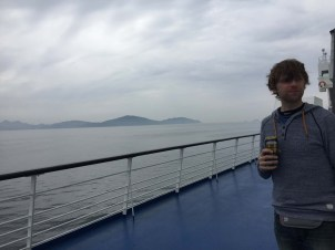 Beer on the ferry. It was cold and windy outside.