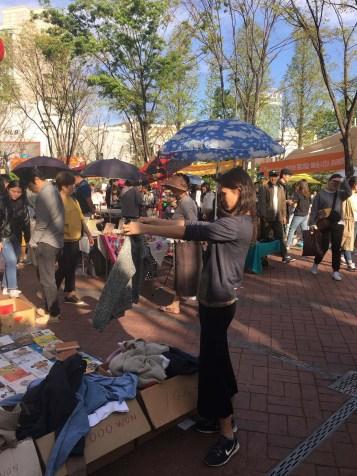 Lovely weekend market in our neighborhood of Hongdae.