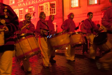 Drummers, Lewes Bonfire parade, Sussex