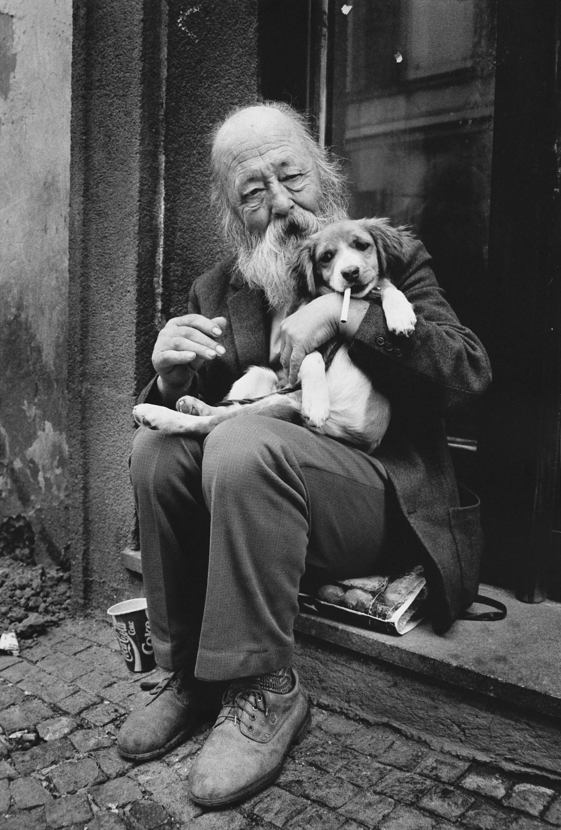 Old man with his dog, Prague.