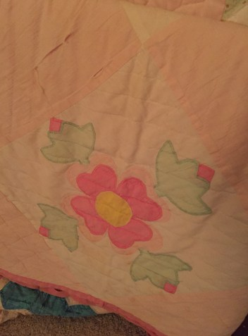 This quilt, I think made by Grandma Jane, was on my bed when I was young. One year, Mom made my birthday cake to match it.