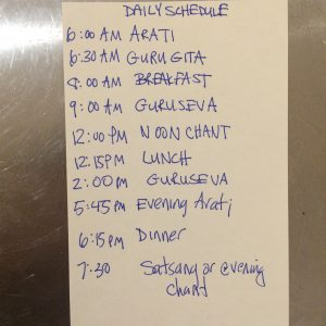 The daily schedule at the ashram.