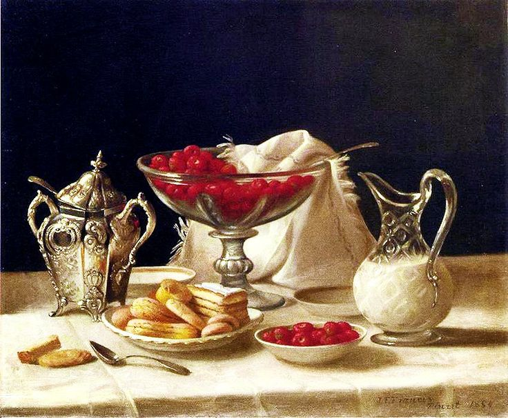 """Dessert still life with Fruit and Cream"". 1854."