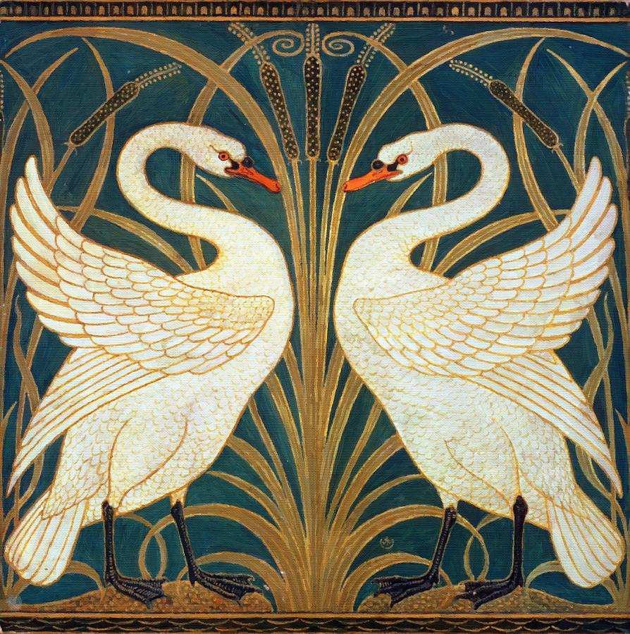 """""""Swan, Rush and Iris"""" wallpaper design. 1883."""