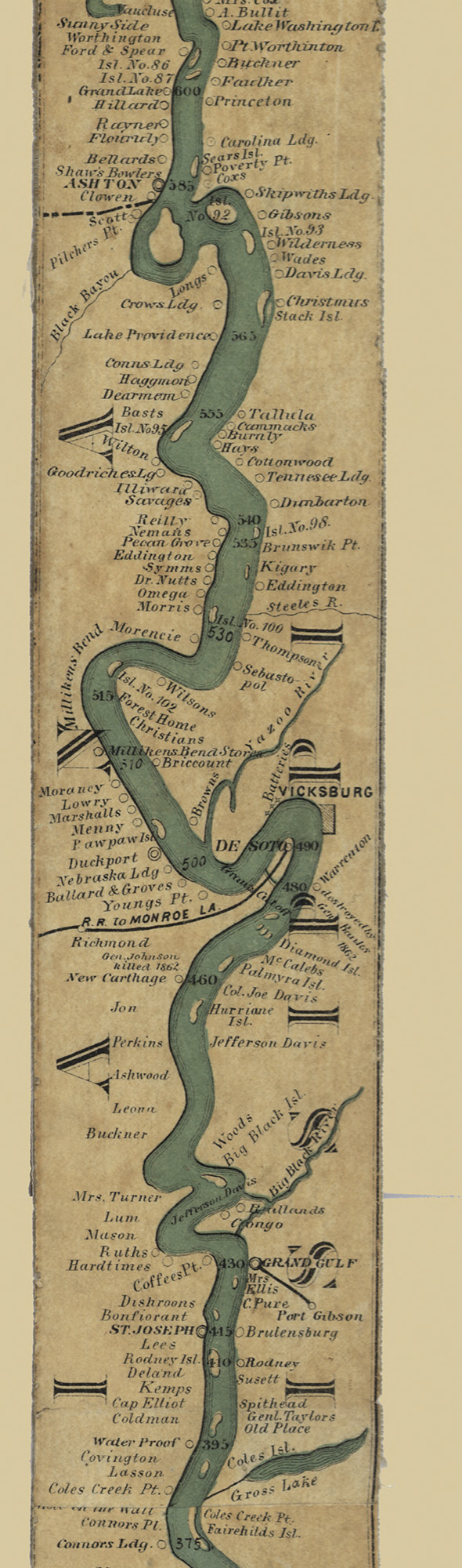 """This 11-foot-long """"ribbon map"""" of the Mississippi River, printed in 1866.Myron Coloney and Sidney B. Fairchild makers. www.loc.gov"""