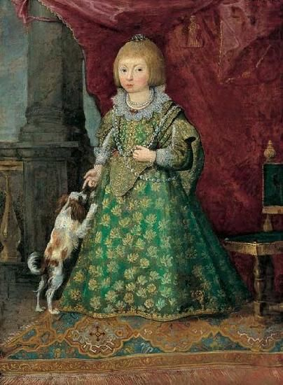 Unknown Polish princess of the Vasa dynasty in Spanish costume (and her dog). ca. 1644.