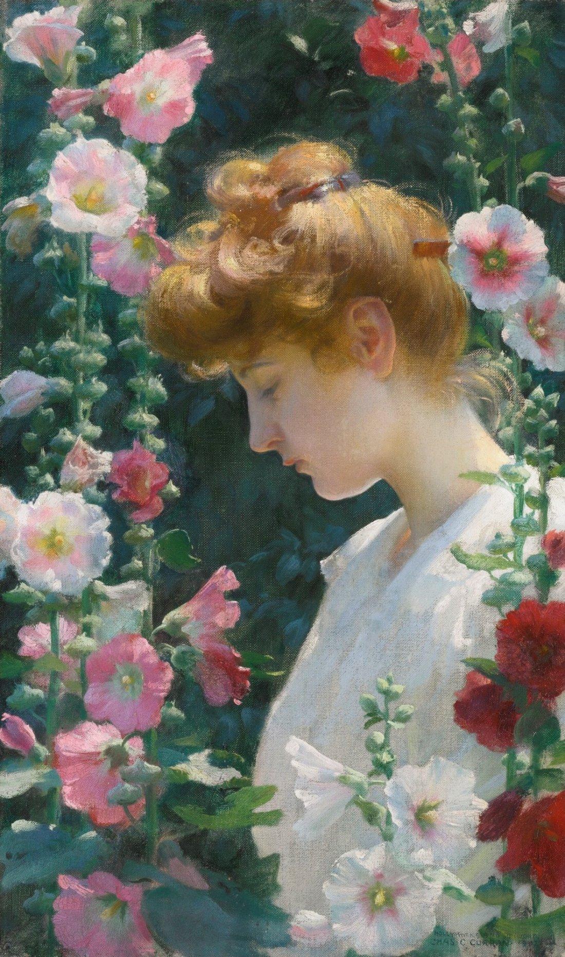 """Hollyhocks and Sunlight."" 1902."