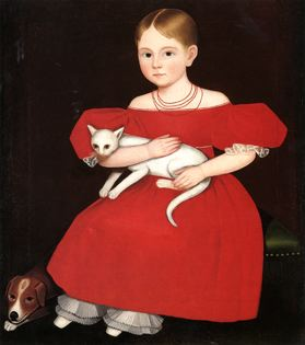 Girl with a dog and cat. American. Ammi Phillips, limner.