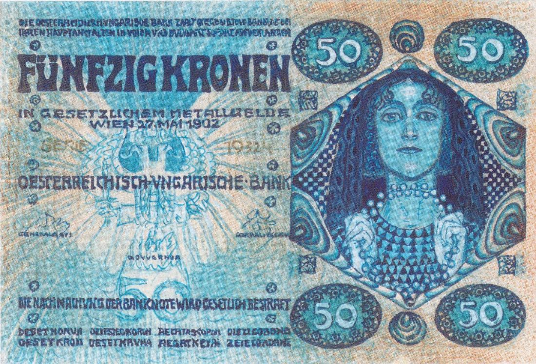 Design for a 50 kronen bank note. 1902.