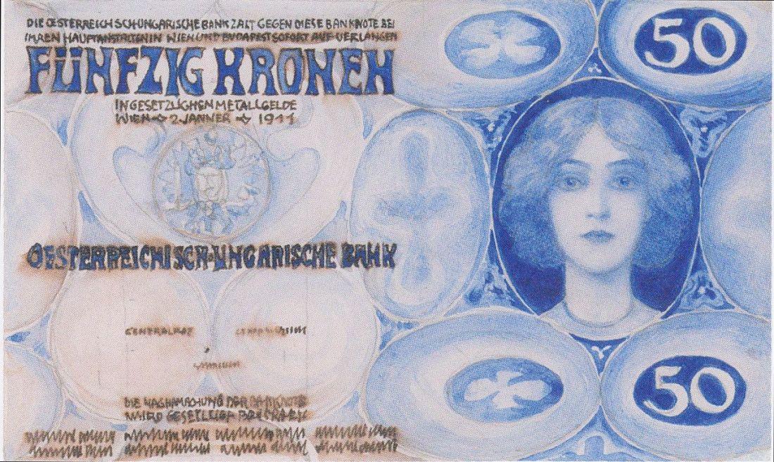 Design for a 50 kroner banknote. 1911.