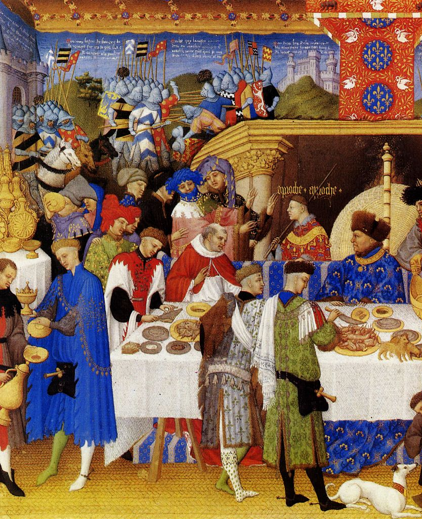 January. Depiction of a winter feast.