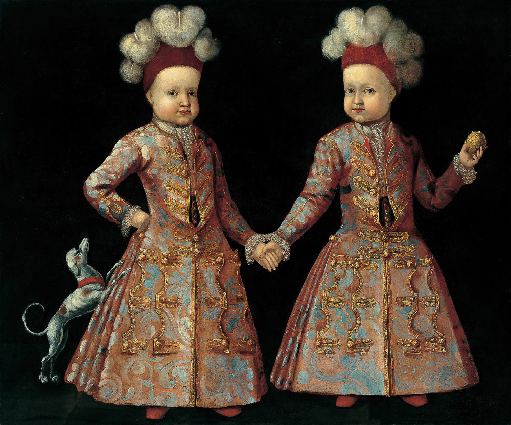 Portrait of twins. 18th c. Central European school. Unknown artist.