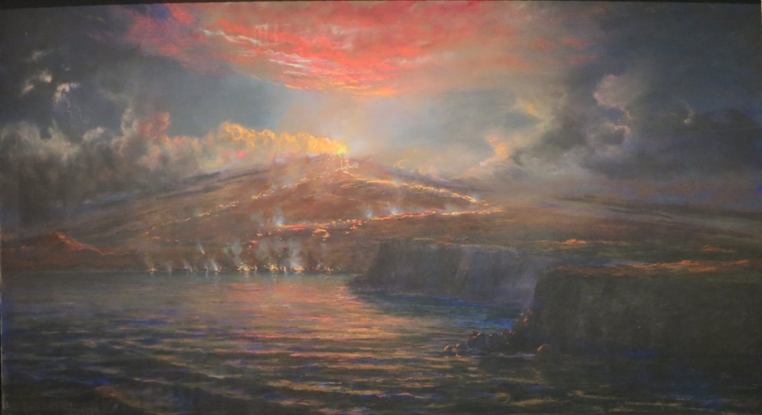 """Volcanic Eruption on the Sea at Night."" Undated."