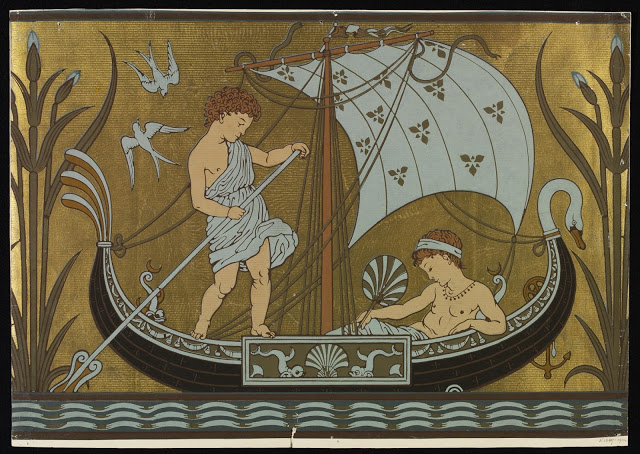 Robed male figures in a boat. 1877. Dado.
