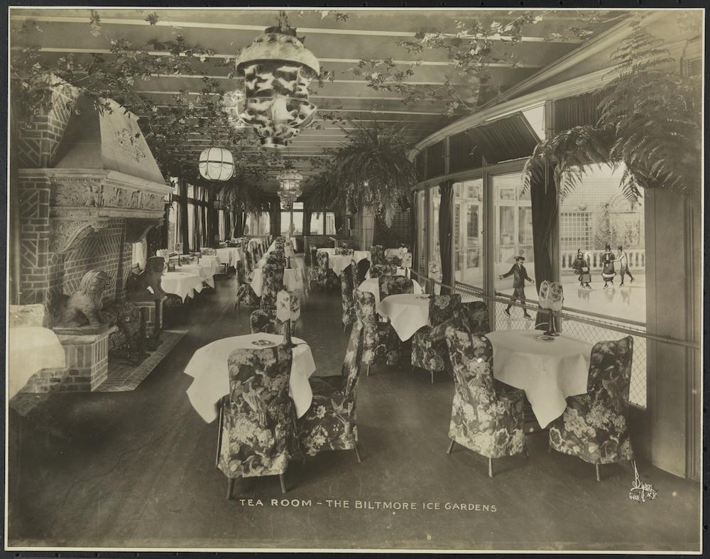 Tea room, the Biltmore ice gardens. ca. 1915-19.