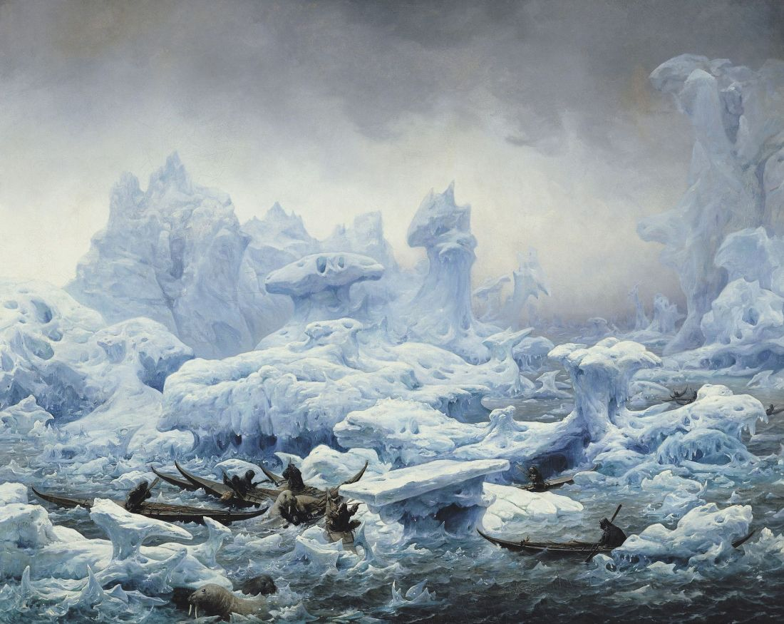 """""""Fishing for walrus in the Arctic ocean."""" 1841."""
